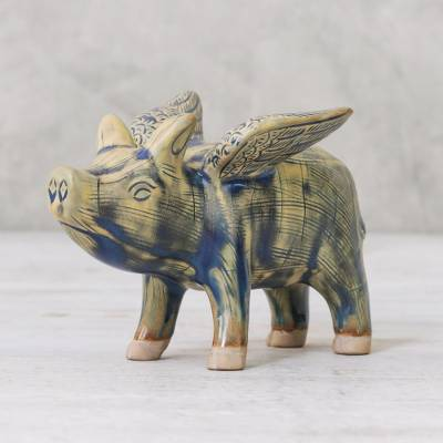 Celadon ceramic figurine, 'Flying Pig' - Ceramic Flying Pig in Mustard and Blue Shades