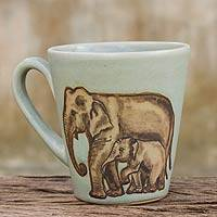 Celadon ceramic mug, 'Siamese Elephants' - Light Blue and Brown Elephant Theme Celadon Ceramic Mug