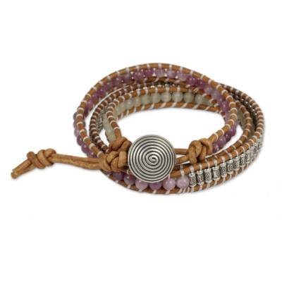 Quartz and lapidolite wrap bracelet, 'Lovely in Lilac' - Hill Tribe Silver 950 Quartz and Lapidolite Wrap Bracelet