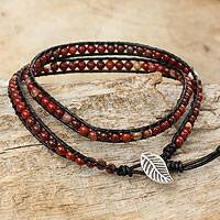 Jasper beaded wrap bracelet, 'Special Red' - Red Jasper Beaded Leather Wrap Bracelet from Thailand