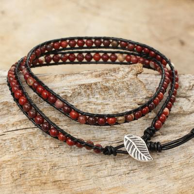 Jasper beaded wrap bracelet, 'Special Red' - Red Jasper Beaded Leather Wrap Bracelet from Thailand