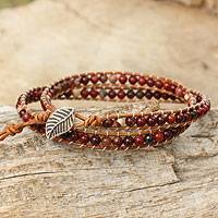 Jasper beaded wrap bracelet, 'Special Wine' - Beaded Wrap Bracelet with Red Jasper and Leather Cords