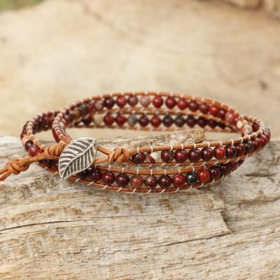 Jasper beaded wrap bracelet, 'Special Wine' - Beaded Wrap Bracelet with Red Jasper and Leather Cords