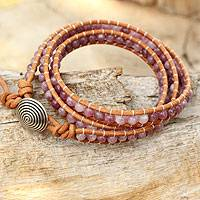 Lepidolite beaded wrap bracelet, 'Hypnotic Rose' - Pink Lepidolite Beaded Wrap Bracelet with 950 Silver
