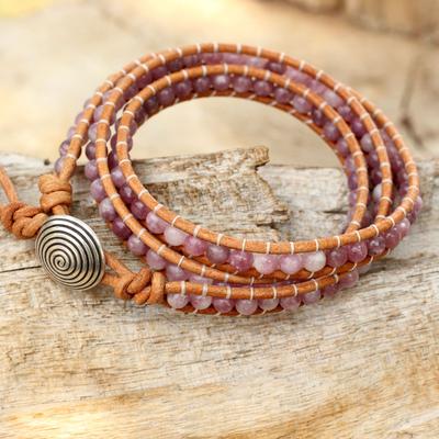 Lepidolite beaded wrap bracelet, 'Hypnotic Rose' - Pink Lepidolite Beaded Wrap Bracelet with 950 Silver