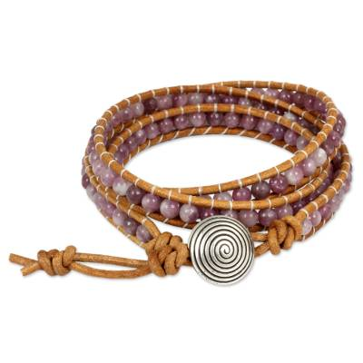 Pink Lepidolite Beaded Wrap Bracelet with 950 Silver
