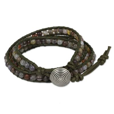 Agate beaded wrap bracelet, 'Hypnotic Brown' - Handmade Wrap Bracelet with Agate Beads and Leather