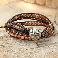 Jasper beaded wrap bracelet, 'Hypnotic Autumn' - Orange and Brown Jasper Wrap Bracelet with Silver 950 Bead