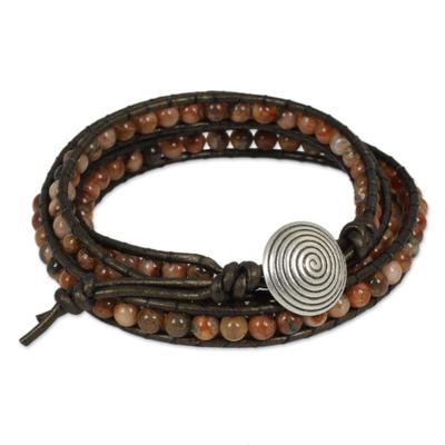 Jasper beaded wrap bracelet, 'Hypnotic Autumn' - Orange and Brown Jasper Wrap Bracelet with Silver 950 Bead