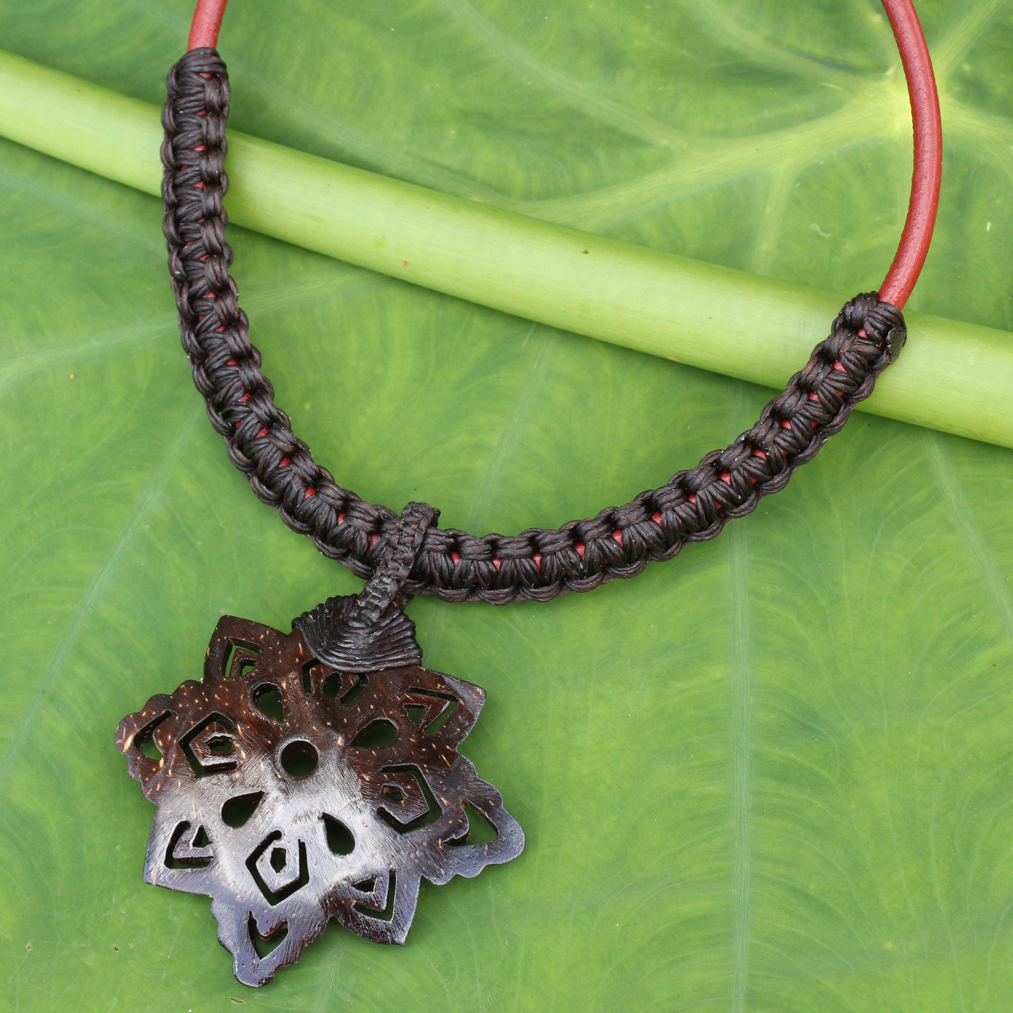 Handmade coconut shell pendant necklace with macrame thai proud handmade coconut shell pendant necklace with macrame thai proud novica aloadofball Choice Image