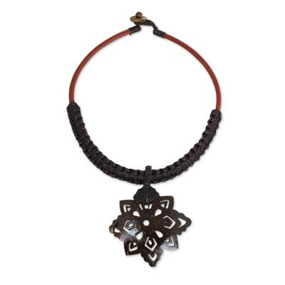 Handmade Coconut Shell Pendant Necklace with Macrame