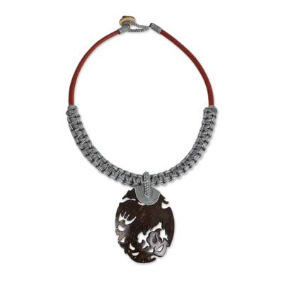 Thai Handmade Coconut Shell and Grey Macrame Necklace