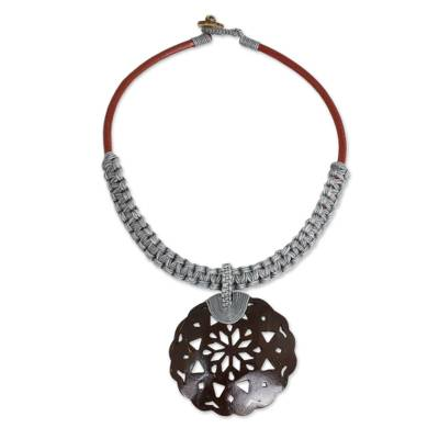 Coconut Shell Leather and Gray Macrame Pendant Necklace