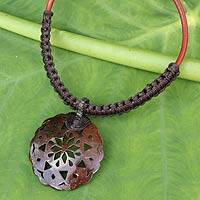 Coconut shell pendant necklace, 'Charming Thailand in Espresso' - Leather and Macrame Necklace with Coconut Shell Pendant