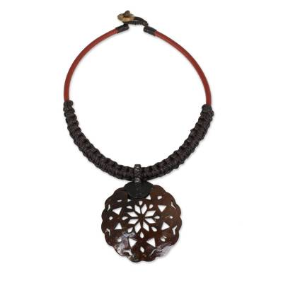 Leather and Macrame Necklace with Coconut Shell Pendant