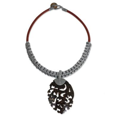 Handmade Gray Macrame Necklace with Coconut Shell Pendant