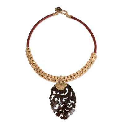 Natural Coconut Shell Pendant Necklace with Macrame Cords