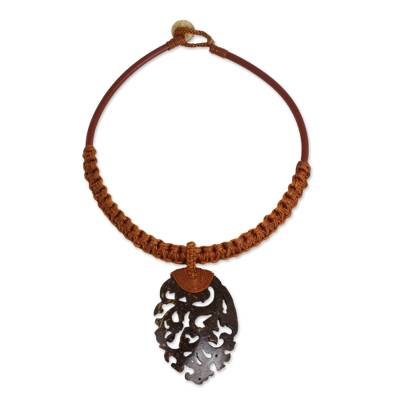 Coconut Shell Necklace on Leather and Macrame Cords