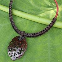 Coconut shell pendant necklace, 'Elegant Thailand in Espresso' - Dark Brown Macrame Necklace with Coconut Shell Pendant