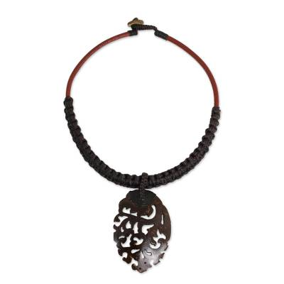 Dark Brown Macrame Necklace with Coconut Shell Pendant