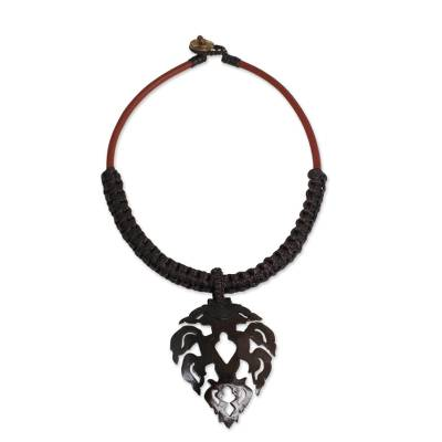 Handmade Macrame and Coconut Shell Pendant Necklace