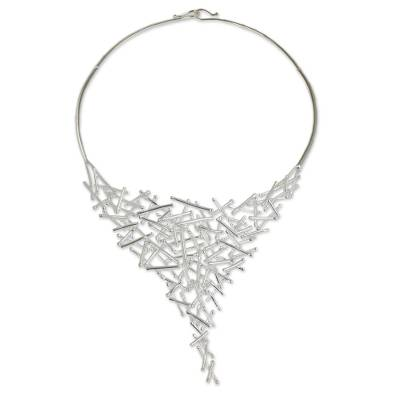 Modern Style Sterling Silver Thai Choker Necklace