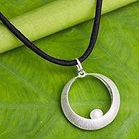 Cultured pearl pendant necklace, 'Purely a Moon' - White Pearl in Sterling Silvr and Silk Necklace