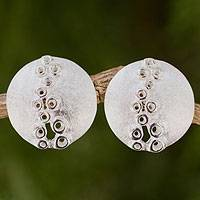 Sterling silver button earrings, 'Mischievous' - Round Button Sterling Silver Earrings