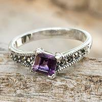 Amethyst solitaire ring, 'Sparkle' - Thai Amethyst and Marcasite Sterling Silver Solitaire Ring