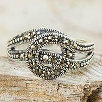 Marcasite cocktail ring, 'Love Knot'
