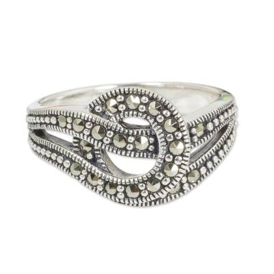 Marcasite cocktail ring, 'Love Knot' - Artisan Crafted Thai Silver and Marcasite Ring
