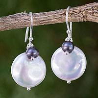 Cultured pearl dangle earrings, 'Pearly Moons' - Thai White and Gray Cultured Pearl Dangle Earrings