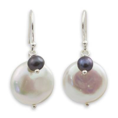 Thai White and Gray Cultured Pearl Dangle Earrings