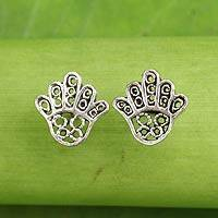 Sterling silver button earrings, 'The Hamsa Hand' - Hamsa Hand Symbol Sterling Silver Button Earrings
