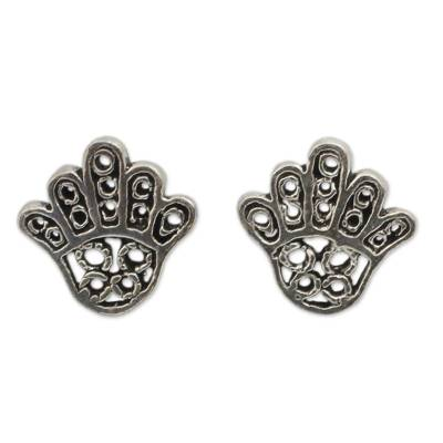 Hamsa Hand Symbol Sterling Silver Button Earrings