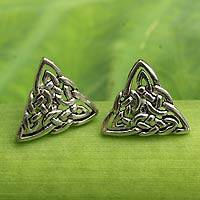 Sterling silver button earrings, 'Celtic Triangle' - Celtic Triangle Knot Button Earrings in Sterling Silver