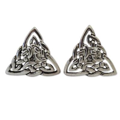 Celtic Triangle Knot Button Earrings in Sterling Silver