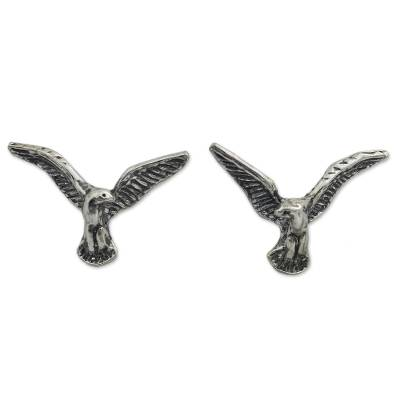 Original Handmade Sterling Silver Eagle Button Earrings