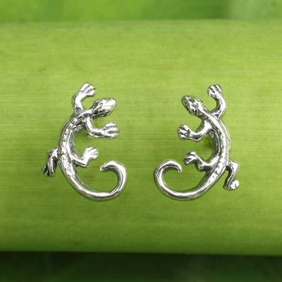 Sterling silver button earrings, 'Chameleon' - Sterling Silver Chameleon Button Earrings from Thailand