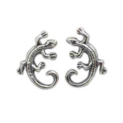 Sterling Silver Chameleon Button Earrings from Thailand