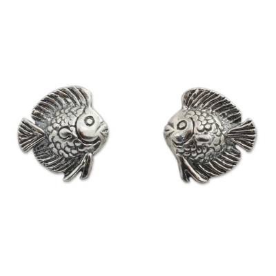 Small Fish Button Earrings in Sterling Silver