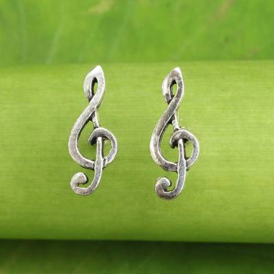Sterling silver button earrings, 'Sol Key' - Musical Sol Key Note G Clef Earrings in 925 Sterling Silver