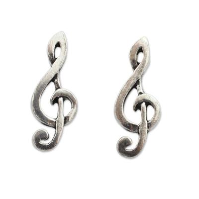 Musical Sol Key Note G Clef Earrings in 925 Sterling Silver