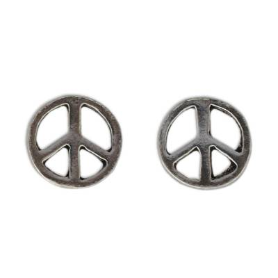 Sterling Silver Peace Symbol Stud Earrings from Thailand