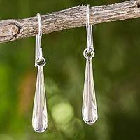 Sterling silver dangle earrings, 'Silver Dewdrops'
