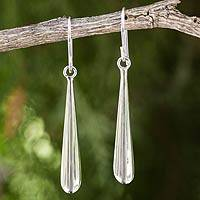 Sterling silver dangle earrings, 'Timeless' - Contemporary Style Sterling Silver Dangle Earrings