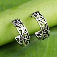Sterling silver half-hoop earrings, 'Thai Filigree' - Filigree Style Half Hoop Sterling Silver Earrings