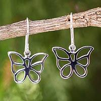 Sterling silver dangle earrings, 'Butterfly Chic' - Sterling Silver Butterfly Dangle Earrings from Thailand