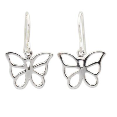 Sterling Silver Butterfly Dangle Earrings from Thailand