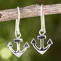 Sterling silver dangle earrings, 'Anchors Aweigh' - Handcrafted Sterling Silver Anchor Dangle Earrings